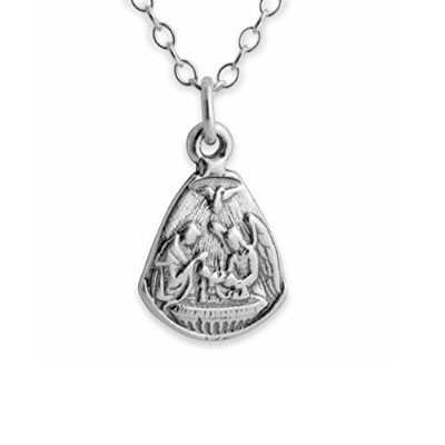925 Sterling Silver Baby Baptism with Angel & Dove Pendant Necklace (22 Inches)