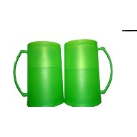 Bright / Vibrant Green Frozen (Freezer) Beer Mugs Set of 2 by Greenbrier