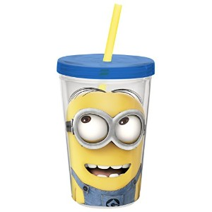 Zak! Designs Insulated Tumbler with Screw-on Lid and Straw and Despicable Me 2 Minions Graphics,...
