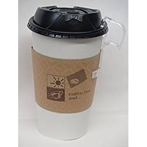 16 Oz. White Hot paper Coffee Cup With Lid ans sleeves - 100 set +10 plastic clip on handles by...