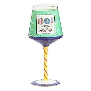 60th Birthday Hand Painted Wine Glass by Gifted Living