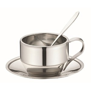 JustNile Coffee/Tea Cup and Saucer w/ Spoon - Stainless Steel Round Saucer by JustNile
