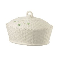Belleek Pottery 1325 Shamrock Oval Covered Dish, 47-Ounce, White by Belleek Pottery