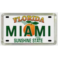 Miami Florida License Plate Acrylic Small Fridge Collector's Souvenir Magnet 2 X 1.25 by World By...