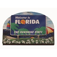 Florida State Welcome Sign Wood Fridge Magnet 2 by Souvenir Destiny