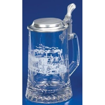 Railroad Train Etched German Glass Beer Stein