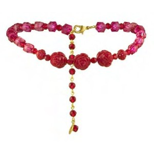 TARINA TARANTINO ADJUSTABLE LUCITE AND CARVED ROSE CHOKER RE[正規輸入品]