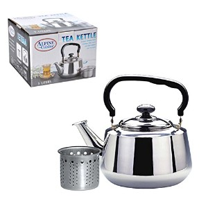 Stainless Steel Tea Kettle Size: 9.2 H x 7.5 D x 7.5 W by Alpine Cuisine