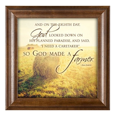 So God Made a Farmer Hay Bales 12x 12FRAMED Art Wall Plaque with Wood Finish