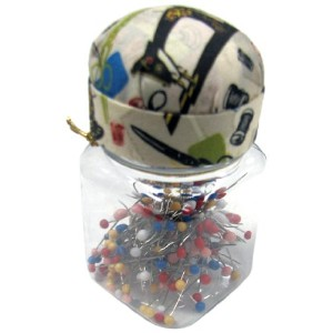 Singer Quilting Pins in Jar with Pin Cushion Lid by Singer