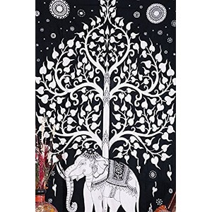 Kayso Elephant Tree Tapestry with Good Luck White Elephant Tapestry Hippie Gypsy Wall Hanging Tree...