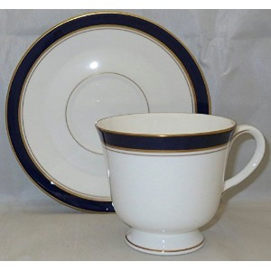 Royal Worcester howard-cobaltブルーゴールドトリムFooted Cup & Saucer Set