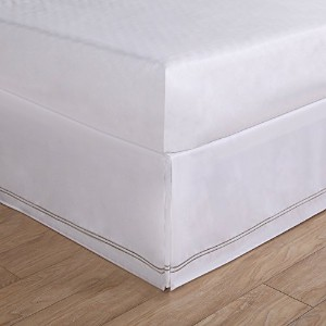"Luxury Hotel Baratta Stitch on White Tailored Microfiber 14"" Bedskirt, King, Silver by Levinsohn ..."