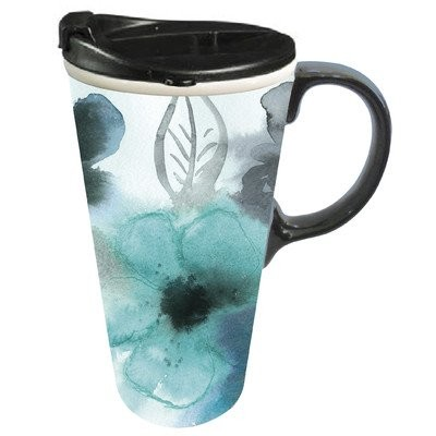Cypress Home Ceramic Watercolor Floral Travel Coffee Mug, 17 ounces by Cypress