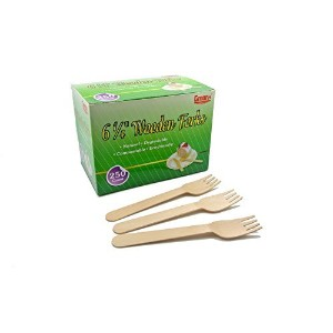 Gmark 250pcs Wooden Forks, Disposable Cutlery GM1007 by Gmark