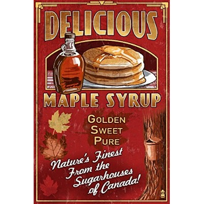 カナダ – ビンテージMaple Syrup Sign 9 x 12 Art Print LANT-55825-9x12