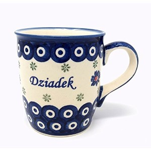 Dziadek - Grandpa Mug from Polish Pottery - Blue Eye with Cherry by Boleslawiec