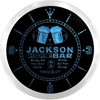 LEDネオンクロック 壁掛け時計 ncp2185-b JACKSON Home Bar Beer Pub LED Neon Sign Wall Clock