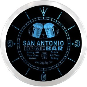 LEDネオンクロック 壁掛け時計 ncp2057-b SAN ANTONIO Home Bar Beer Pub LED Neon Sign Wall Clock