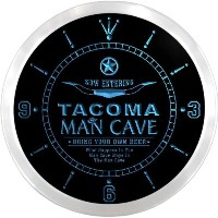 LEDネオンクロック 壁掛け時計 ncpb2161-b TACOMA Man Cave Cowboys Beer Pub LED Neon Sign Wall Clock