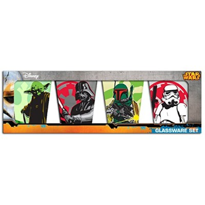 Silver Buffalo SW031SG3 Disney Star Wars Character Fight 4-Piece Colored Mini Glass Set, 1-Ounce...