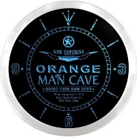 LEDネオンクロック 壁掛け時計 ncpb2231-b ORANGE Man Cave Cowboys Beer Pub LED Neon Sign Wall Clock