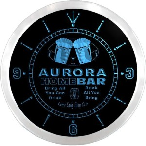 LEDネオンクロック 壁掛け時計 ncp2106-b AURORA Home Bar Beer Pub LED Neon Sign Wall Clock