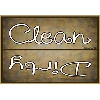 Blackwater Trading Clean Dirty Dishes Dishwasher Fridge Magnet Refrigerators, 3.5 H x 2.5 W, Brown...