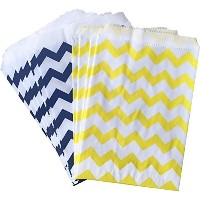 Outside the Box Papers Chevron Treat Sacks 5.5x 7.5 Yellow, White, Navy Blue by Outside the Box...