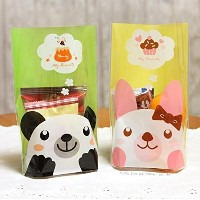 Yunko Clear Treat Bag Bear Cookie Bag 100-pieces with Free Stickers by YunKo