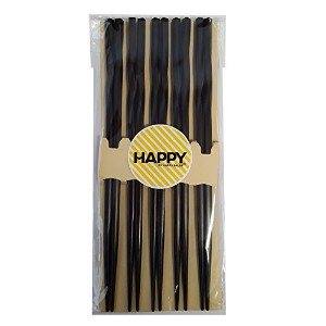 Happy Sales 5 Pairs Spiral Wooden Chopstick Set Black by Happy Sales