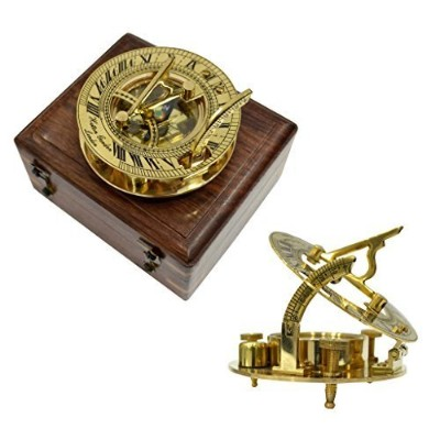 Brass Nautical Brass Sundial Compass in Wood Box - 3 inches Sundial in 4 x 4 inch box by Brass...