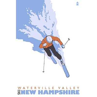 Stylized Skier – Waterville Valley , NH 12 x 18 Signed Art Print LANT-25909-12x18S