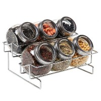 6 Jar Metal and Glass Food Spice Kitchen Storage Container Rack - MyGift by MyGift [並行輸入品]