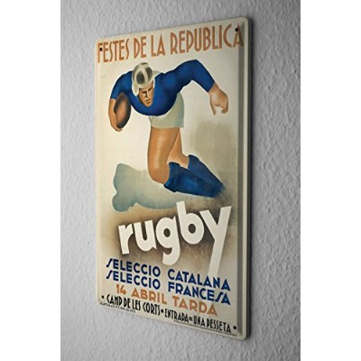 Tin Sign ブリキ看板 Retro Deco Rugby player ball