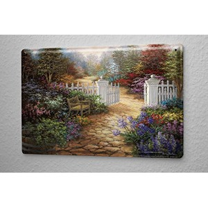 Tin Sign ブリキ看板 idyllic colorful flower garden bench white fence Metal Plate