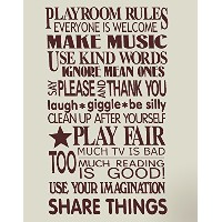 Wall Decor Plus More WDPM1126 Playroom Rules Wall Vinyl Sticker Decal, 23 H x 14 W, Chocolate Brown...