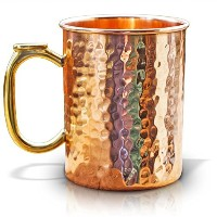 100% Solid Copper Mug by Drinkware Essentials. 16 oz Hammered Moscow Mule Mugs With Thumb Rest Keep...