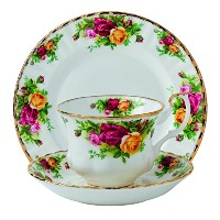 Royal Albert Old Country Roses 3 Piece Set (Teacup, Saucer & Plate), Multicolor by Royal Albert