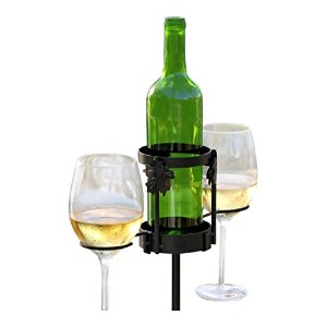 Winelight Wrought Iron Garden Stand Glass And Wine Bottle Holder [並行輸入品]
