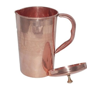 Dungri India ?Best Quality Pure Copper Jug Water Pitcher Handmade Indian Copper Utensils for Ayurveda Healing - Capacity 1600 ML / 54 Oz Hammered Style by Dungri India Craft [並行輸入品]