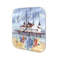wall clock Globetrotter Marke Painting beach chair dock printed acryl plexiglass 10x10""