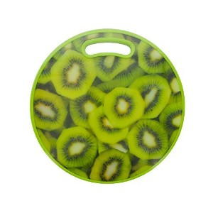 Round Kiwi Print Cutting Board, Large, Multicolor, For Meat & Veggie Prep, Serve Bread, Crackers &...