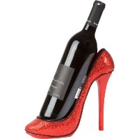 KitchInnovations Sequin Print High Heel Wine Bottle Holder - Stylish Conversation Wine Rack by Red...