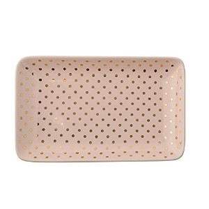 Bloomingville A21102121 Ceramic Henrietta Plate, Nude With Gold Dots by Bloomingville