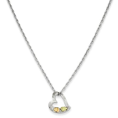 Beautiful Sterling silver 925 sterling Sterling Silver & 12K Leaves Floating Heart Necklace comes...