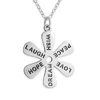 925 Sterling Silver Wish Peace Love Dream Hope Laugh Flower Necklace (16 Inches)