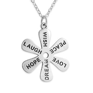 925 Sterling Silver Wish Peace Love Dream Hope Laugh Flower Necklace (14 Inches)