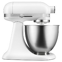 KitchenAid KSM3311XFW Artisan Mini Series Tilt-Head Stand Mixer, Matte White, 3.5 quart by...
