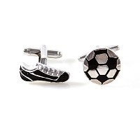 mrcuffサッカーボールand Cleats ShoeペアCufflinks in a Presentationギフトボックス&ポリッシュクロス